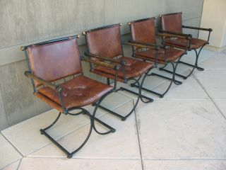 Four Wrought Iron Dining Chairs Spanish Influence Mid Century Modern Brown Vinyl photo