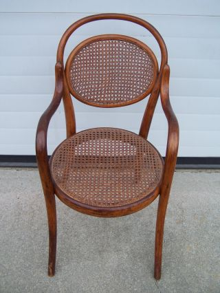 Antique Cane Back And Seat Bentwood Childs Chair photo