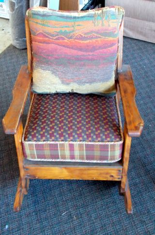Children ' S Rocker - Special Walnut Color - With Cushions (new) Rust Orange/rainbow photo