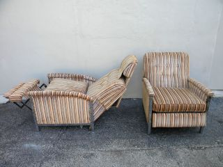 Pair Of Vintage Mid - Century Chrome Side By Side Reclining Chairs 2408 photo