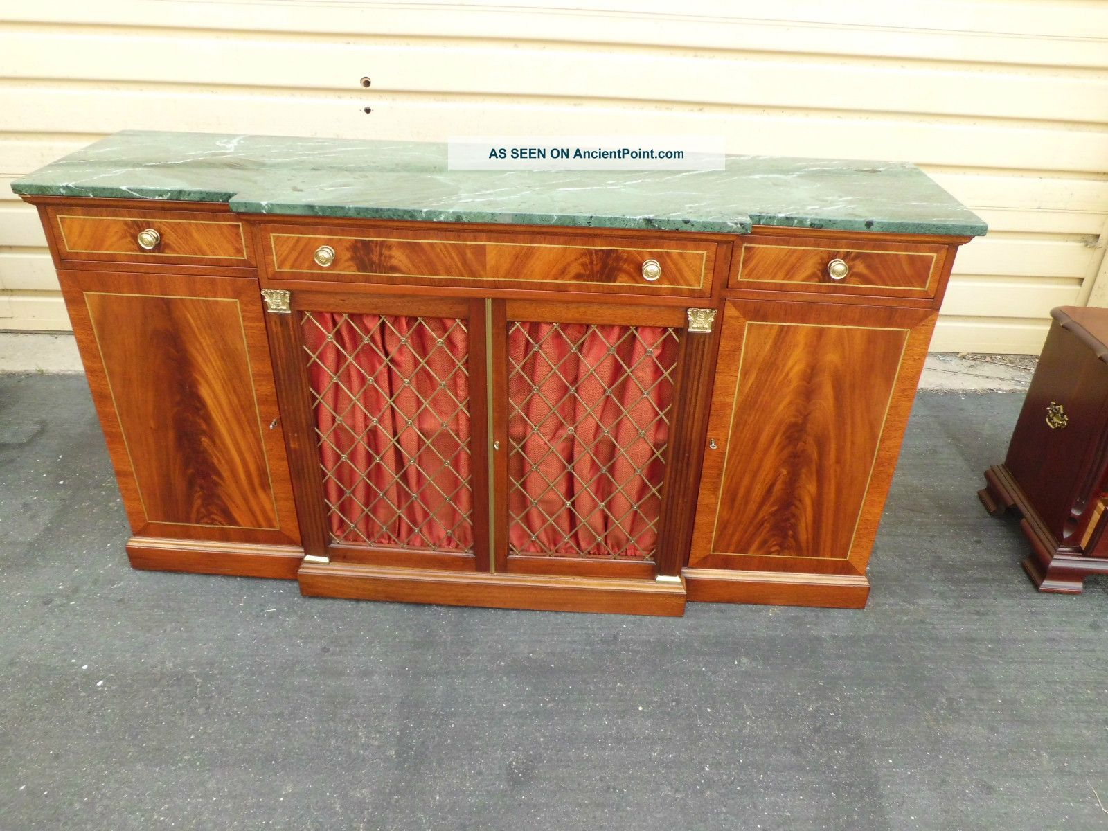 50739 Antique Kahl Furniture Marble Top Buffet Server Sideboard Cabinet Quality Post-1950 photo