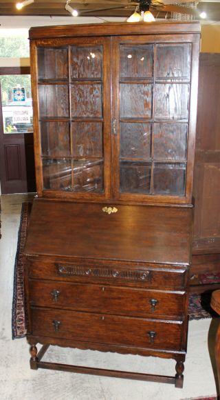 English Antique Secretary Desk.  Made From Oak. photo