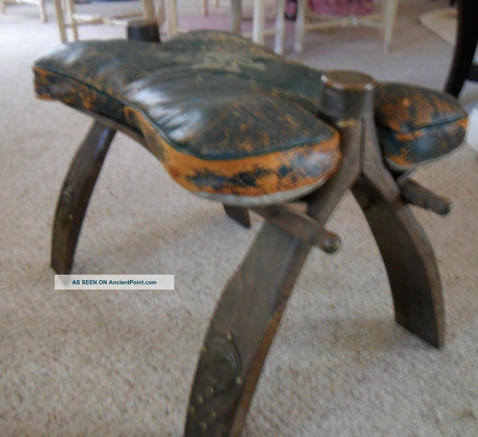 Old Leather Camel Saddle Stool Foot Rest Pharaoh Rustic Furniture Western Worn 1900-1950 photo