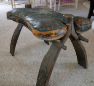Old Leather Camel Saddle Stool Foot Rest Pharaoh Rustic Furniture Western Worn photo