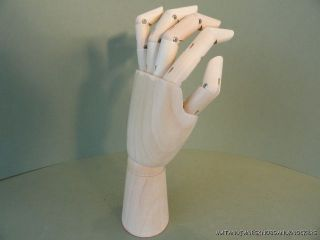 Articulated Carved Wooden Left Hand Artist Mannequin Hand Fingers photo