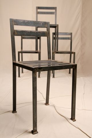 Pair Of French Industrial Chic Iron Weathered Antique Metal Modern Side Chairs photo