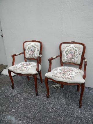 Pair Of Italian Carved Tapestry Side By Side Chairs By Maas Brothers 2359 photo