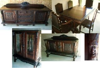 Antique Renaissance Revival Dining Room Table Gothic Sideboard Carved Figural photo