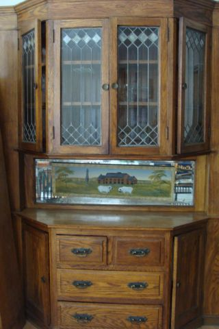 Oak Arts & Crafts Built - In Buffet Sideboard photo