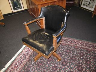 Vintage Romweber Viking Oak Black Leather Adjustable Office Desk Chair 1970s photo