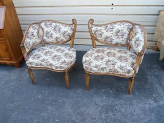 49895 Pair Vintage Fireside Chairs Chairs With Inlaid Back photo