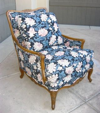 Vintage French Country Arm Chair Ornate Carved Wood Down Cushions Provincial photo