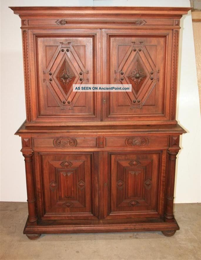 Antique 19th C French Renaissance Walnut Gothic Carved Drapier Sideboard Server 1800-1899 photo
