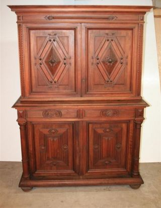 Antique 19th C French Renaissance Walnut Gothic Carved Drapier Sideboard Server photo