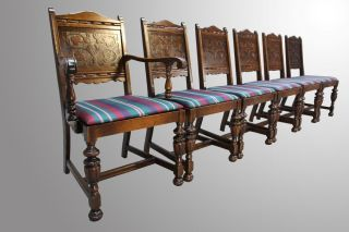 15945 Antique Set Of Six Oak Carved Jacobean Dining Chairs photo