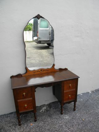 Art Deco Walnut Vanity Desk With Mirror 2281 photo