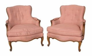 Pair Louis Xv Style Bergeres Open Armchairs Down Filled Upholstery photo
