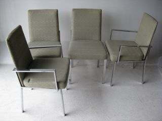 Mid Century Modern Milo Baughman Style Chrome Dining Chairs Vintage Design photo