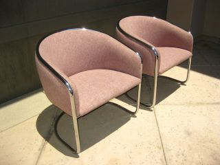 Pair Of Vintage Mid Century Modern Chrome Accent Club Chairs With Mauve Fabric photo