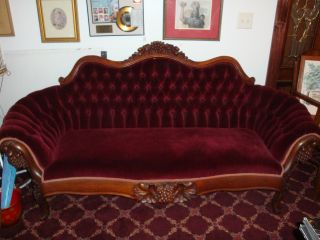 Victorian Burgundy Carved Sofa photo