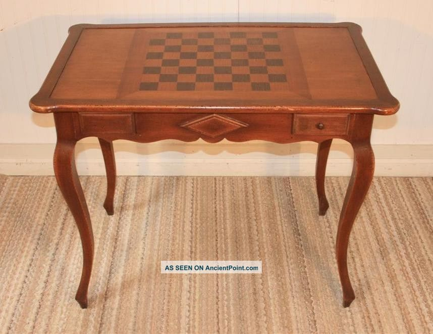 vtg french style 2 drawer scallop game table checkers chess