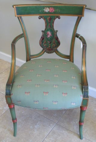 Vintage Ca 1930s Fanciful Adams Style Carved Painted And Gilded Wood Armchair photo