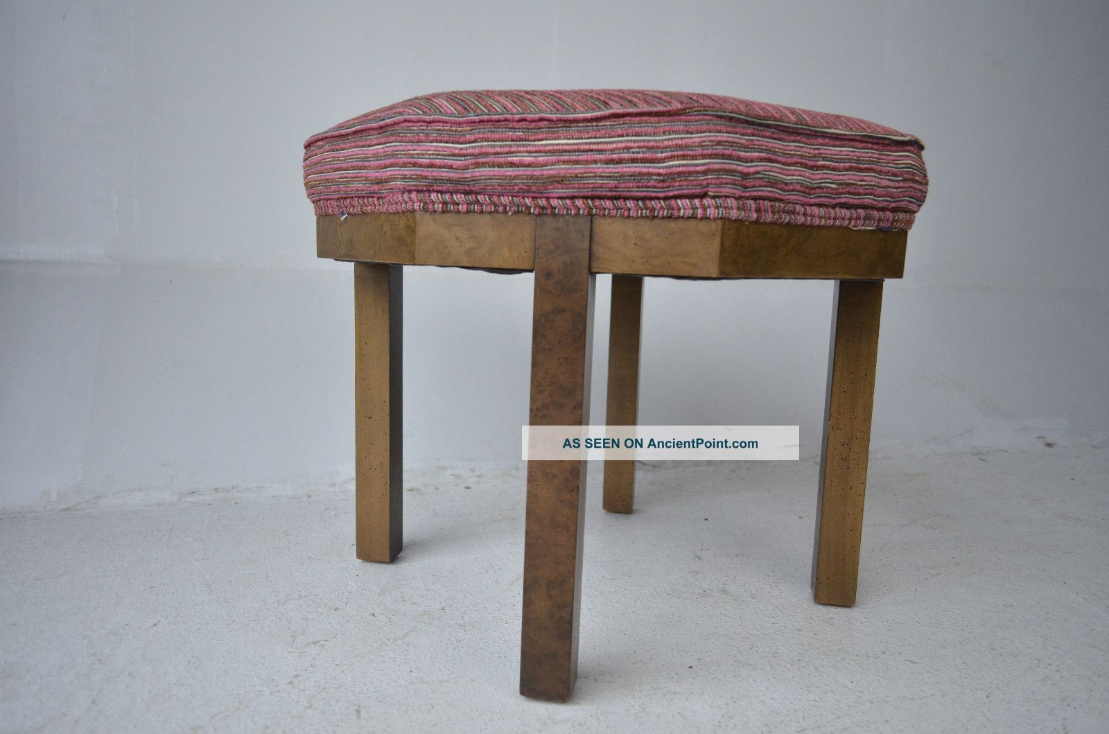 Mid Century Modern Octagone Ottoman With Burled Wood Vintage Design Eames Baker Post-1950 photo