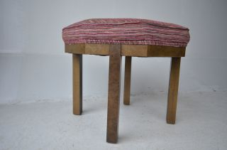 Mid Century Modern Octagone Ottoman With Burled Wood Vintage Design Eames Baker photo