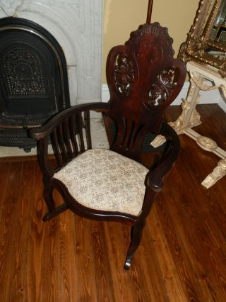 Fabulous Hand Carved Antique Victorian High Back Rocking Chair photo