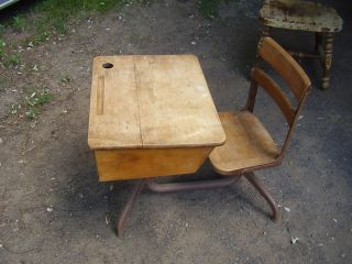 Vintage Wood & Steel School Desk.  Gc - Vgc. photo