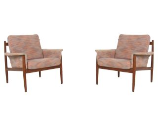 Grete Jalk France & Son Mid Century Danish Modern Teak Pair 2 Lounge Chair photo