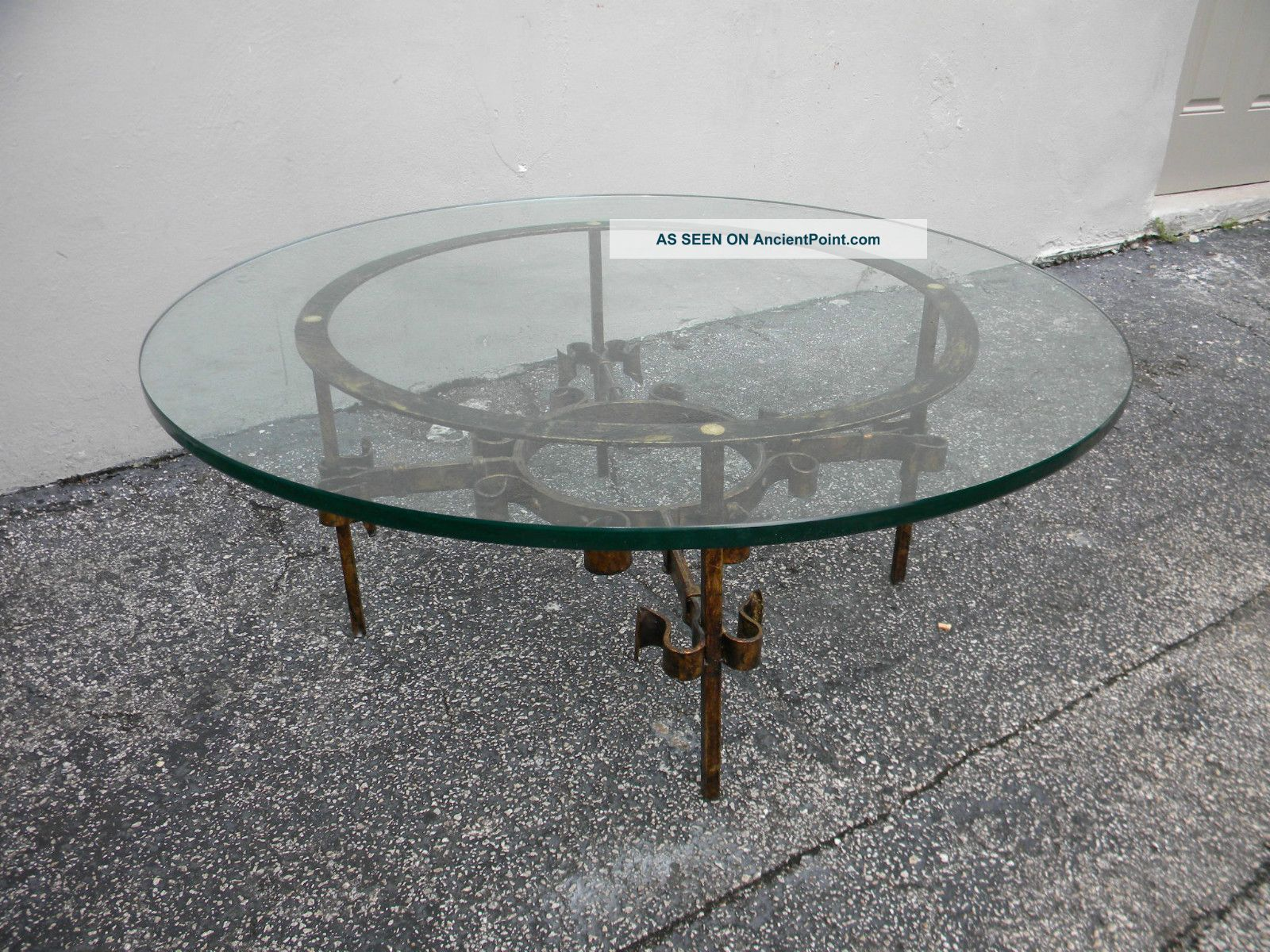 Mid century round glass top coffee table 2654 post 1950 photo