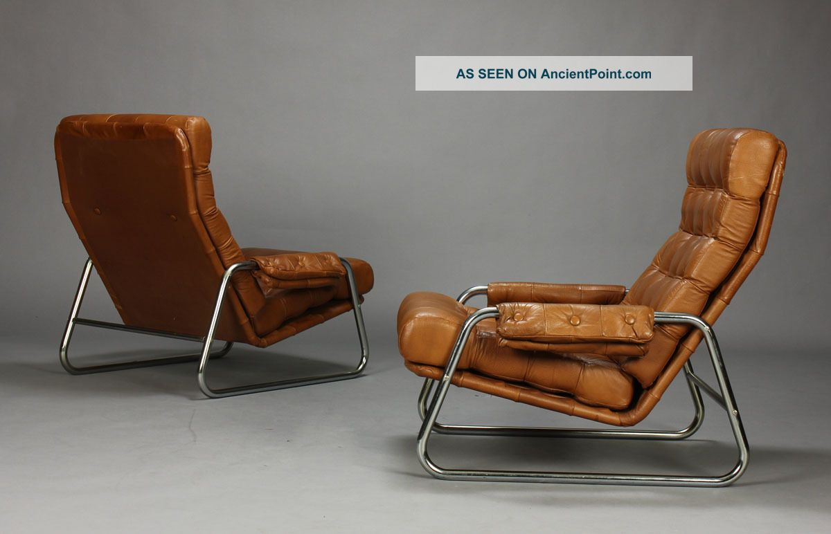 Pair Of Danish Leather Lounge Chairs With Sculpted Metal Frames Midcentury Mcm & Pair Of Danish Leather Lounge Chairs With Sculpted Metal Frames ...