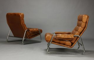 Pair Of Danish Leather Lounge Chairs With Sculpted Metal Frames Midcentury Mcm photo