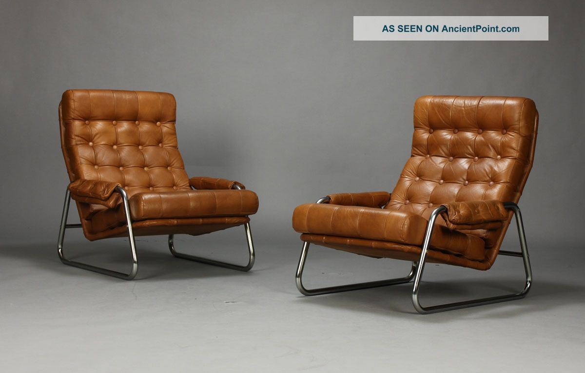 Superieur Pair Of Danish Leather Lounge Chairs With Sculpted Metal Frames Midcentury  Mcm 2 Lgw Jpg