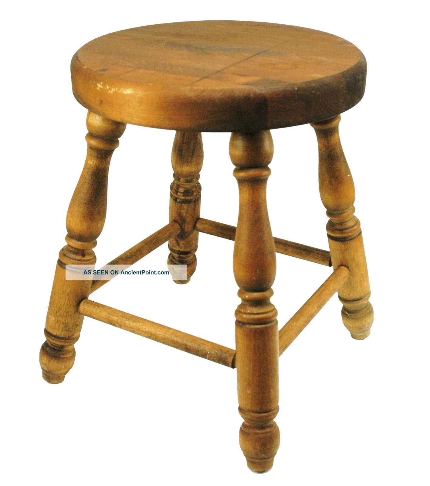 Small Wood Stool Solid Oak Butcher Block Vintage Piano Counter 18