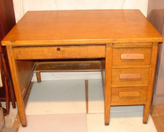 Antique Solid Oak Knee Hole Desk photo