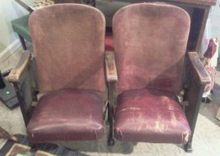Antique Theater 2 Seater Chairs Cast Iron. photo