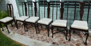 Antique Set Of 6 Queen Anne Chairs photo