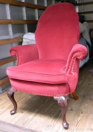 Elegant Antique Victorian Carved Solid Mahogany Ladies Arm Chair Red Velvet photo