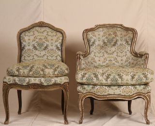 Pair Of Louis Xv French Associated Side & Arm Painted Carved Antique Chairs photo