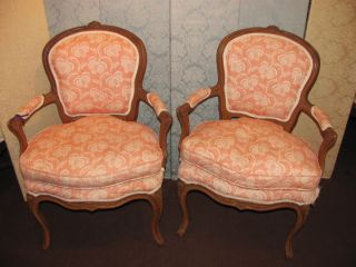 Pair Antique French Louis Xv Style Walnut Armchairs 19th Century photo