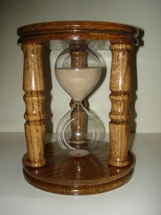 Oak 9 Inch 60 Minute Sand Hourglass photo