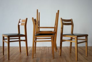 Retro Chair Beech Modernist Dining Black Vinyl Danish 60s 70s photo