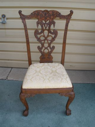 48557 Carved Mahogany Side Chair W/ Chippendale Foot photo
