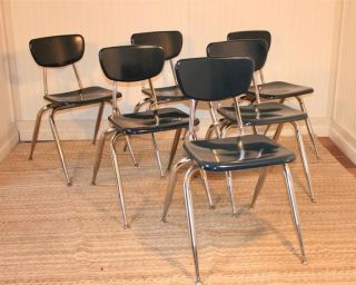 1 Vtg Virco Blue Hard Plastic Stackable Mid Century Modern Chairs School Dining photo