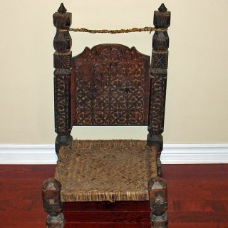 Antique Carved Wooden Chair Furniture From Swat Valley photo