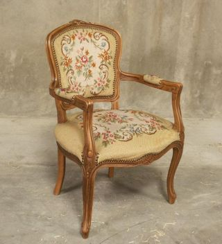 611 : French Louis Xv Antique Arm Chair W/ Needle Point photo