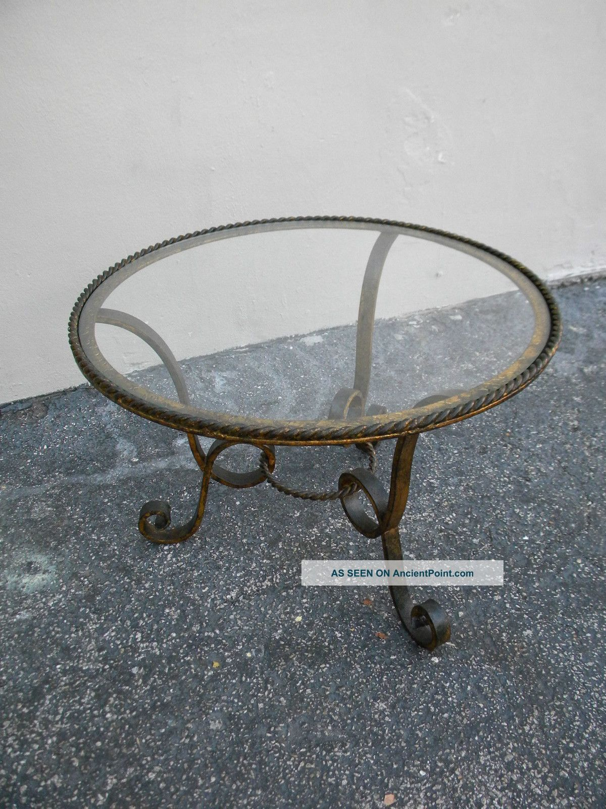 Century French Round Iron And Gold Finish Glass Top Coffee Table