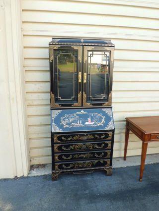 51128 Oriental Jasper Secretary Desk With Bookcase Top photo